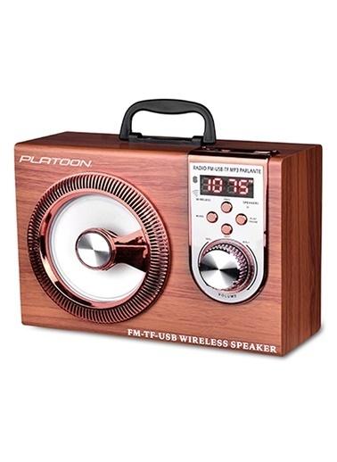 Platoon PL-4337 Bluetooth Speaker Fm/Sd/Usb Kahve